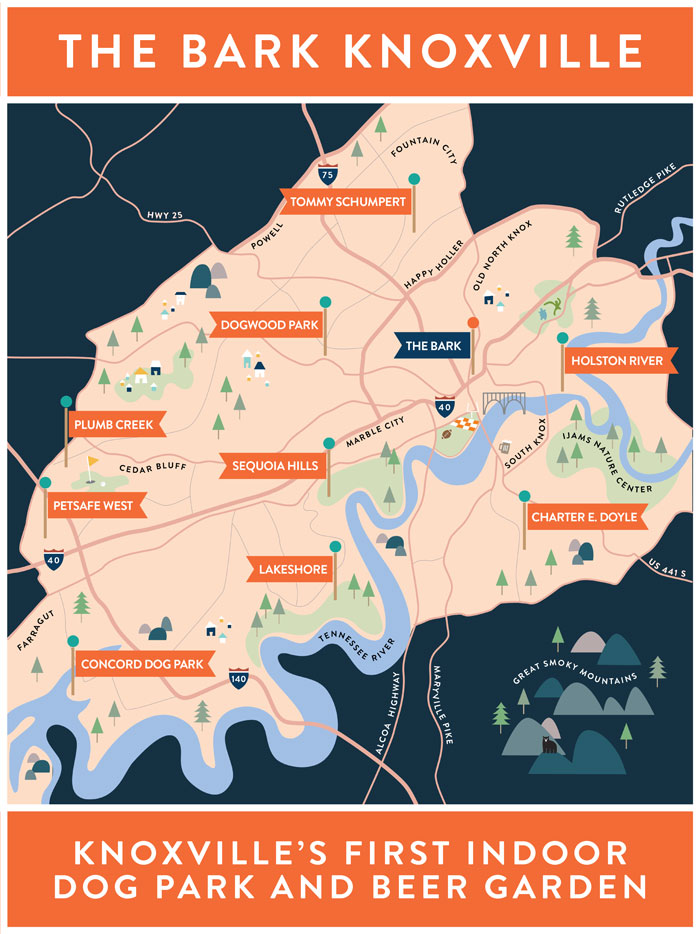 Map of Knoxville's dog parks